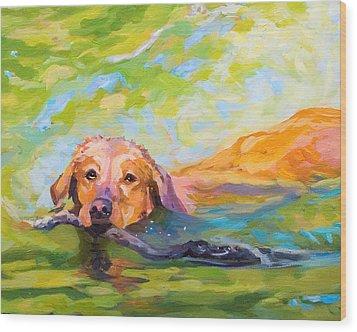 Nice Day For A Swim Wood Print by Janine Hoefler