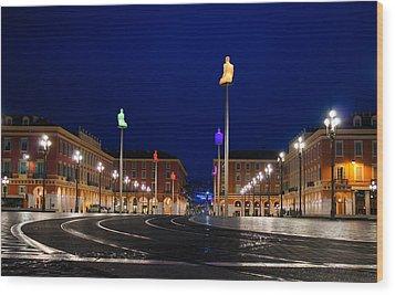 Wood Print featuring the photograph Nice France - Place Massena Blue Hour  by Georgia Mizuleva
