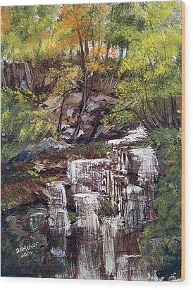 Nice Waterfall In The Forest Wood Print by Dorothy Maier