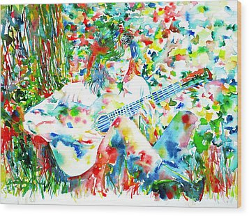 Nick Drake Playing The Guitar Under A Tree Watercolor Portrait Wood Print by Fabrizio Cassetta