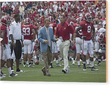 Nick Saban And The Tide Wood Print by Mountain Dreams