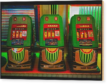Nickel Dime Quarter Slots Wood Print by Robert FERD Frank