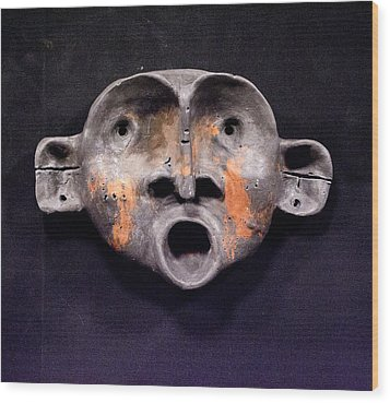 Nico Black And Orange Mask Wood Print by Mark M  Mellon