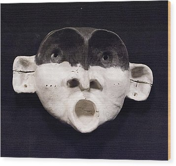 Nico Black Mask Wood Print by Mark M  Mellon