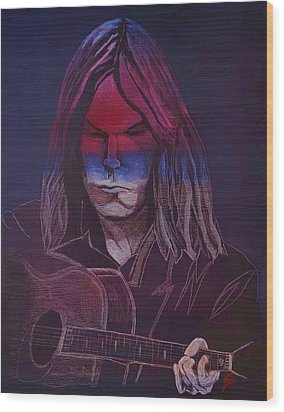 Neil Young   Patriot Wood Print