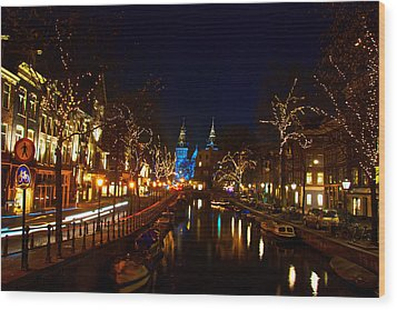 Nieuwe Spieglestraat At Night Wood Print
