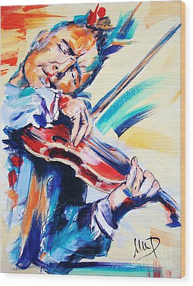 Nigel Kennedy Wood Print by Melanie D