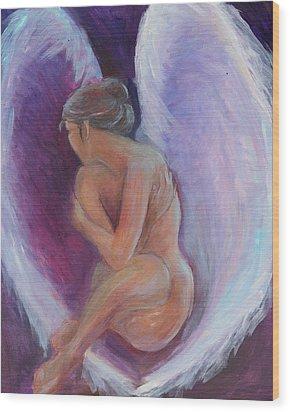 Night Angel Wood Print by Gwen Carroll