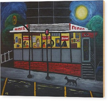 Night At An Arlington Diner Wood Print by Victoria Lakes