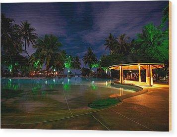 Night At Tropical Resort 1 Wood Print by Jenny Rainbow
