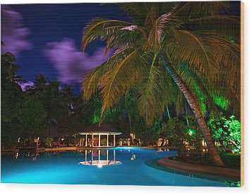 Night At Tropical Resort Wood Print by Jenny Rainbow