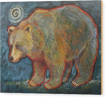 Night Bear Grizzly Bear Wood Print
