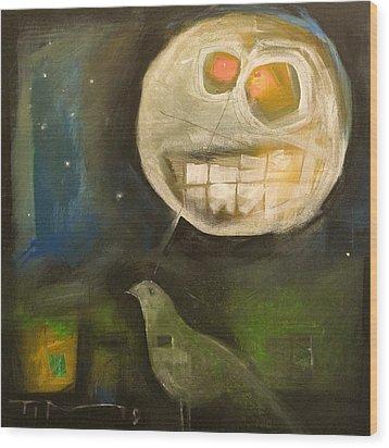Night Bird Harvest Moon Wood Print by Tim Nyberg