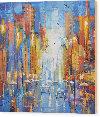 Wood Print featuring the painting Night Boulevard by Dmitry Spiros