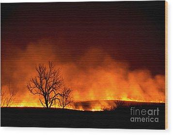 Night Burn Wood Print