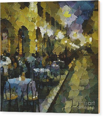 Night Cafe Wood Print by Dragica  Micki Fortuna