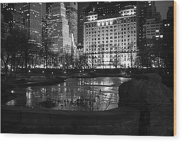 Night Central Park Lake H Wood Print by Dave Beckerman