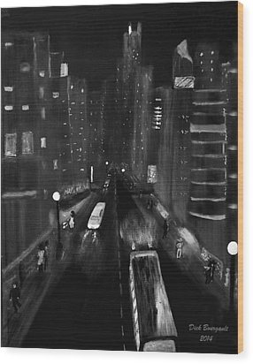 Night City Scape Wood Print by Dick Bourgault