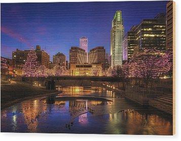 Night Cityscape - Omaha - Nebraska Wood Print by Nikolyn McDonald