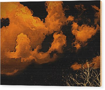 Wood Print featuring the painting Night Clouds by Persephone Artworks