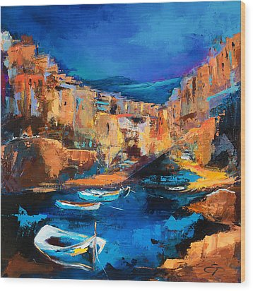 Night Colors Over Riomaggiore - Cinque Terre Wood Print