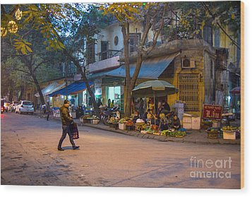 Night Crossing Hanoi Wood Print by Rick Bragan