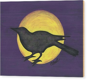 Night Crow On Purple Wood Print