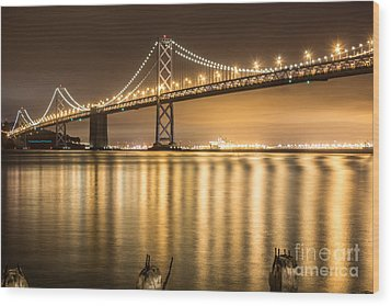 Night Descending On The Bay Bridge Wood Print by Suzanne Luft