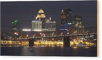 Wood Print featuring the photograph Night Descends Over Louisville City by Deborah Klubertanz
