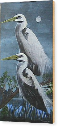 Night Egrets Wood Print
