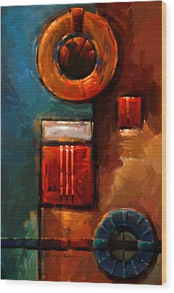 Night Engine - Abstract Red Gold And Blue Print Wood Print by Kanayo Ede