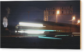 Night Express - Union Pacific Engine Wood Print by Steven Milner