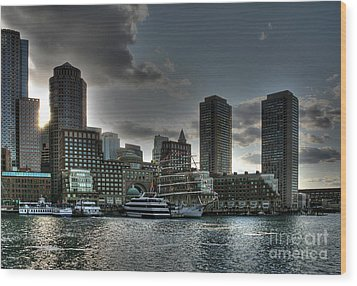Night Fall At The Harbor Wood Print by Adrian LaRoque