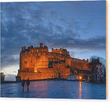 Night Falls On Beautiful Edinburgh Castle Wood Print by Mark E Tisdale