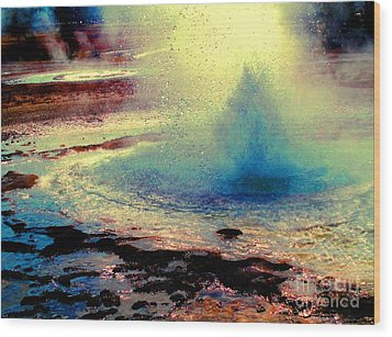Night Falls On The Yellowstone Wood Print by Ann Johndro-Collins