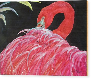 Night Flamingo Wood Print by Lil Taylor