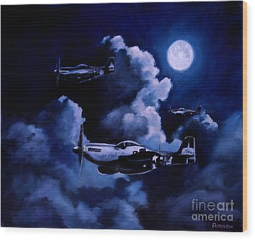 Wood Print featuring the painting Night Flight by Stephen Roberson