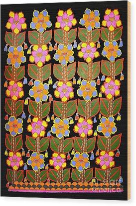 Night Flower-madhubani Paintings Wood Print