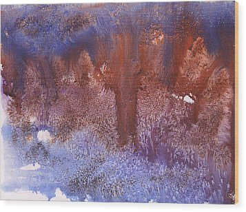 Night Forest Wood Print