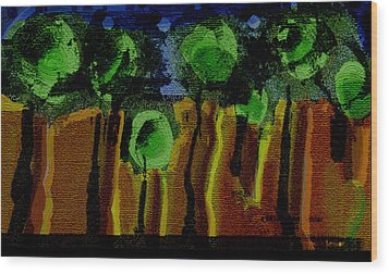 Night Forest Tapestry Wood Print by Lenore Senior