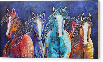 Night Horse Rendezvous Wood Print by Jennifer Godshalk