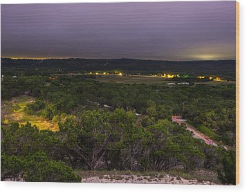 Wood Print featuring the photograph Night In A Texas Hill Country Valley by Darryl Dalton