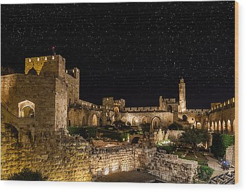 Night In The Old City Wood Print