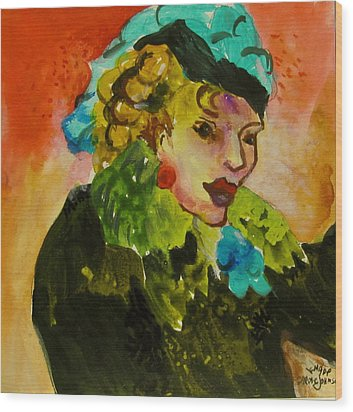 Night Lady Ruby Wood Print by Carole Johnson