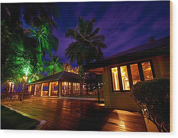 Night Lights At The Resort Wood Print by Jenny Rainbow