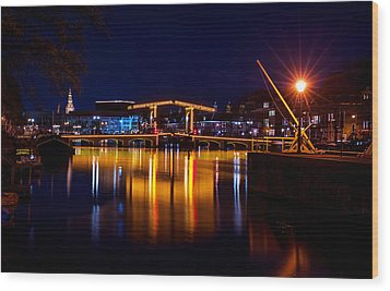 Night Lights On The Amsterdam Canals 1. Holland Wood Print by Jenny Rainbow