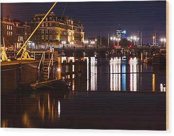 Night Lights On The Amsterdam Canals 2. Holland Wood Print by Jenny Rainbow