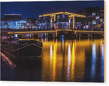 Night Lights On The Amsterdam Canals 3. Holland Wood Print by Jenny Rainbow