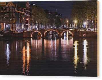 Night Lights On The Amsterdam Canals 4. Holland Wood Print by Jenny Rainbow