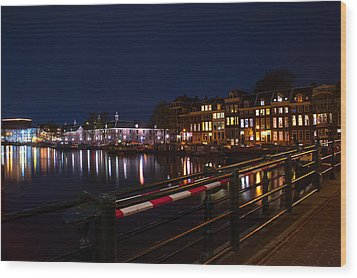 Night Lights On The Amsterdam Canals 5. Holland Wood Print by Jenny Rainbow